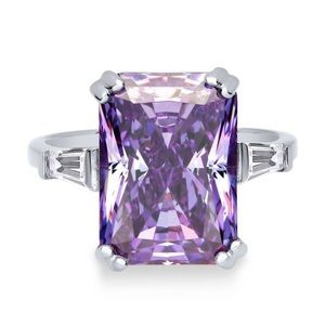 Jewelry - Sterling Silver Radiant Purple CZ 3-Stone Ring